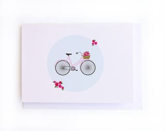 Cute vintage bicycle illustration - Greeting card - blank all occasions card
