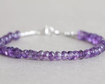 Amethyst Bracelet Beaded Bracelet Purple Gemstone Bracelet February Birthstone