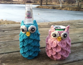 Crochet Owl Can and Bottle Cozies (Pattern)