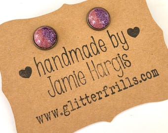 Pink & purple glitter stud earrings. Glitter earrings. Glittery earrings. Party accessories. Gifts under 10. Gifts for girls.