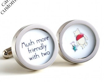 Wedding Cufflinks of Winnie the Pooh and Piglet 'Much more friendly with two' in 1920s Style PC418