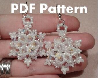 PDF-file Beading Pattern Let it Snowflake Earrings PDF-file Beading Tutorial by HoneyBeads1