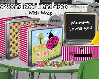 Pink Ladybug Lunchbox - Personalized Metal Lunch Box with Chalkboard inside - Double-sided Tin Lunch Box - Name lunch box - Wrap or NO wrap