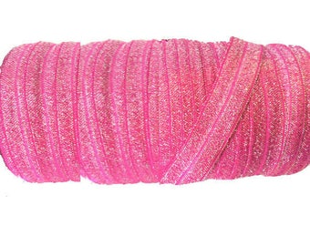 """5/8"""" Pink with silver Shimmer ~ FOE ~ Fold Over Elastic ~ Metallic ~ Headbands ~ Trim ~ Sparkle ~ 5/8 inch"""
