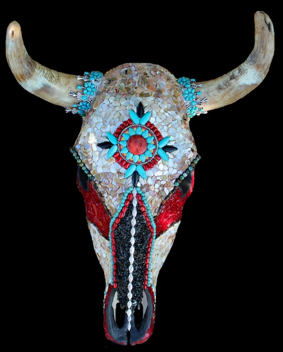 Decorated Mosaic Cow Skull Southwestern Native American Style Cow Skull