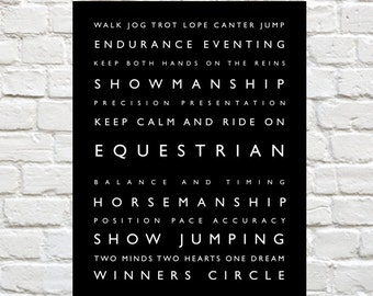 Equestrian - Typography, Personalized Print, Riding, Typography Print, Typography Poster - Horseback Riding, Horse Decor, Equestrian Decor
