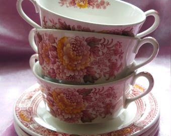 1920s Staffordshire Ridgway Canterbury coffee soup dishes with saucers, antique, vintage, retro