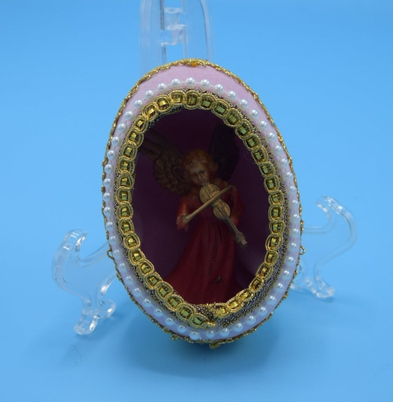 Decoupage Pink Egg Shell Ornament Vintage Faberge Decorated Egg Musical Angel Christmas Decor Angel Diorama Christmas Ornament Gift
