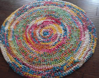 Round Shabby Chic/ Boho/ Upcycled/ Country Chic Rag Rug Yellow Green Aqua Pink Red and Purple for Family Room Bathroom Girl Room Crochet Rug