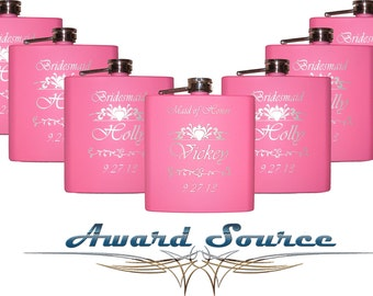 4, Personalized Bridesmaid Gifts, Pink Flask, Wedding Gift for Bridesmaids, 6oz Hip Flask