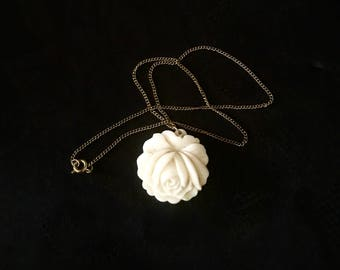 on sale jewelry white rose pendant carved bakelite necklace vintage jewelry gifts