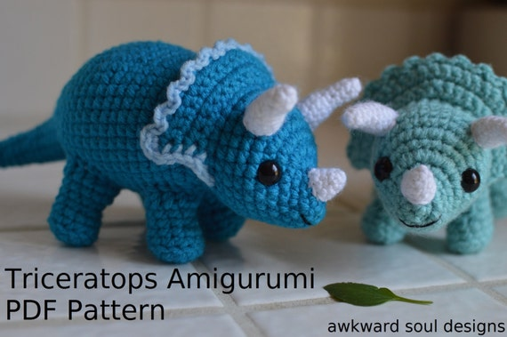 Amigurumi Dinosaur Free Pattern : Triceratops dinosaur crochet amigurumi doll pdf pattern