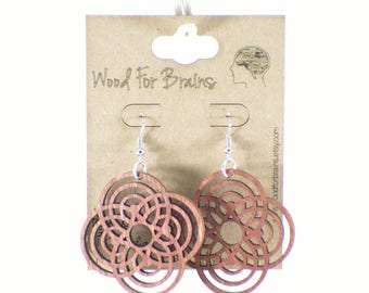 "Laser Cut Wooden Earrings - ""Cinco-Sphere"""