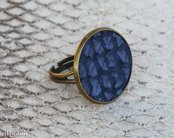 Nautical Fashion, blue salmon leather ring, fish leather ring, gift for mom, best friend, sister