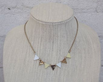 Petite Yellow White Gold Triangle Banner Necklace