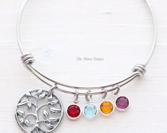 Family Tree Bracelet, Charm Bracelet, Bangle Bracelet, Mothers Charm Bracelet, Grandma Bracelet, Adjustable Bangle Bracelet