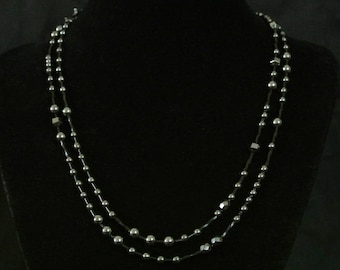 Long hematite skinny necklace