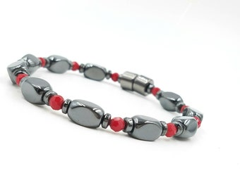 Red and Black Bracelet || Simple Design || Pain Relief || Super Power Magnetic Hematite || Rare Earth Magnetic Clasp || Red Crystal Accents