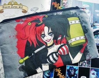 Quinntessential Madness Zippered Pouch - Harley Quinn Comic Batman - Clutch bag Purse Wristlet - Cosmetic Pencil - Bianca Loran Art