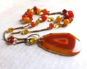 Orange Agate Slice Gemstone Necklace - Orange Pumpkin Yellow Gemstone Pendant Necklace - Long Retro Style Diva Goddess Pendant Necklace