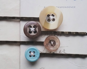Button Hair Pin Set, Vintage Buton Bobby Pins, Colorful, Vintage Style Hair Accessories for Women and Teen Girls