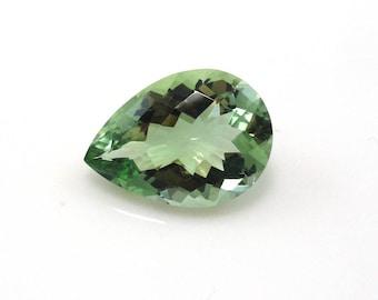 Green Amethyst (Prasiolite) Pear Shape 18x13mm Approximately 9 Carat, February Birthstone, Amegreen, Veregreen, Leek green,Focal Stone(9022)