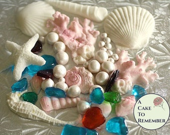 Under the Sea Party cake decorations for ocean themed party, mermaid party decorations , sea cake decorations, mermaid birthday party