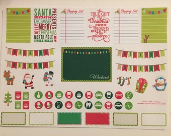 December christmas Theme planner stickers for erin condren, scrapbook, filo fax