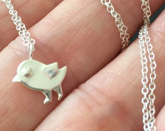All sterling silver baby Bird Pendant Necklace, Sterling silver bird Necklace, bird necklace, baby bird, nature necklace, chick