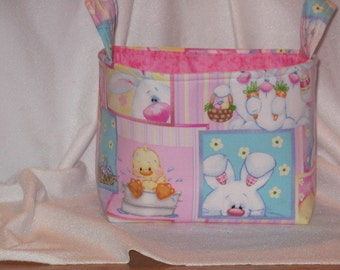 Easter / Bunnies Fabric Bin/ Caddie / Storage Container/  Basket