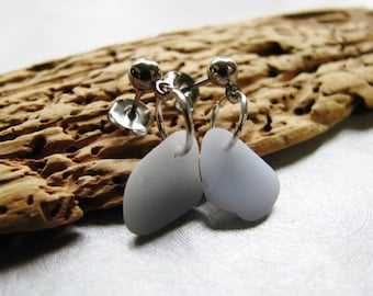 Rare Pale Grey Blue Milk Glass Stud Earrings - Sea Glass - Sea Glass Earrings - Surgical Steel- Pure Sea Glass from Prince Edward Island