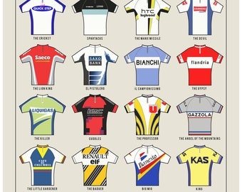 PERSONALISED Cycling Art Print - Nicknames of the Peleton