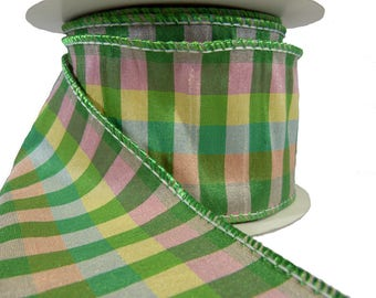 "Spring Plaid Green Pink Yellow Wired Ribbon  2.5"" Wide"
