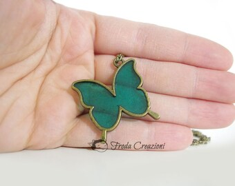 Spring Poetry - Green Butterfly - Glitter- Necklace - Resin - Charm - OOAK - Bronze - Kawaii - Cute - Fairy Story -