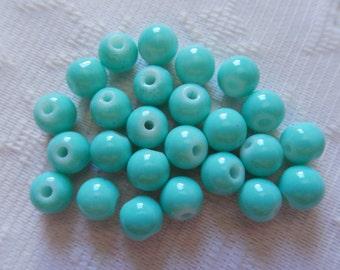 25  Aqua Green Opaque Round Ball Glass Beads  8mm
