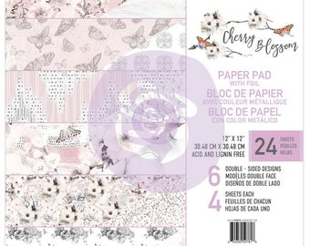 Prima Cherry Blossom With Foil-  12 x 12 Paper Pad Scrapbook New Release In Stock Ready To Ship