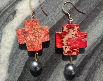 Chunky Cross Drop Earrings