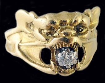 Antique Art Nouveau Ring Gold Diamond Bat Monster French Figural Jewelry (#5349)