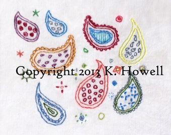 Paisley Hand Embroidery Pattern, Paisley Palooza, Fun, Pattern, India, Indian, Paisley, Variety, Motif, PDF