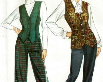 Vintage 80s New Look 6943 UNCUT Misses High Waisted Pants or Cuffed Trousers and Vest/Weskit Sewing Pattern Size 6-16 Bust 30.5-38