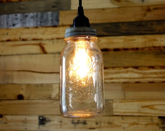 Clear 1 Quart Ball Mason Jar Pendant Light