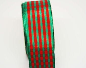 BULK Red Green Plaid Ribbon -- 5 yards - 1 1/2 Inch -- Red Green Holiday Christmas