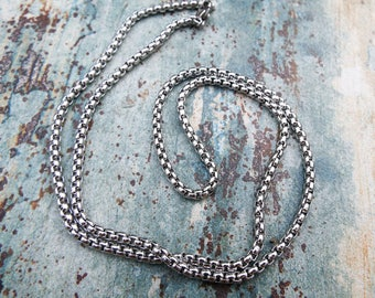 Silver Chain Stainless Steel 60cm Long Handmade Silver Necklace Cable Chain Jewelry