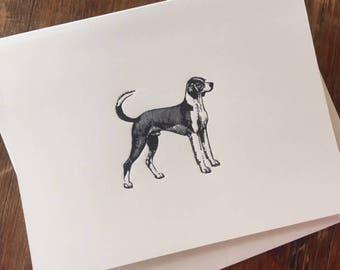 Letterpress Dog Card, Pointer Dog Card, Dog Card, Dog Note Card, Doggie Note, Doggie Card