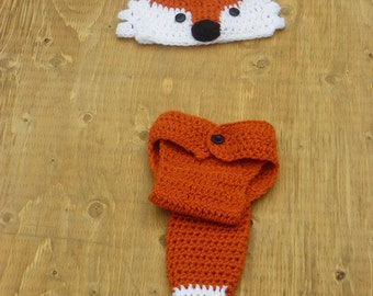 baby fox outfit, crochet fox hat, newborn photo prop, woodland baby shower gift, woodland photo props, enchanted forest baby shower, infant