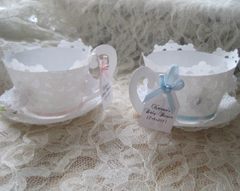 Tea Cup Custom made Cupcake Wrappers - Baby Shower Teacup and Saucer