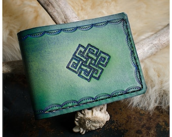 Green endless knot leather bifold wallet