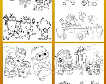 Minions coloring sheets for boys and girls. Coloring activity sheets . Preschool coloring pages
