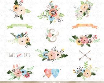 Flower clip etsy watercolor flowers clipart pack flower clip art pack vintage flowers spring flower mightylinksfo
