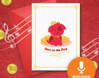 Chinese Year Of The Dog Musical Greeting Card With Sound Module | Recordable Greeting Card, New Year 2018, Chinese Dog New Year 00024